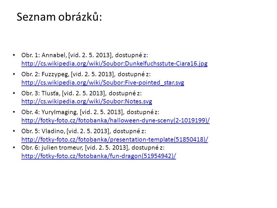 Seznam obrázků: Obr. 1: Annabel, [vid. 2. 5. 2013], dostupné z: http://cs.wikipedia.org/wiki/Soubor:Dunkelfuchsstute-Ciara16.jpg.